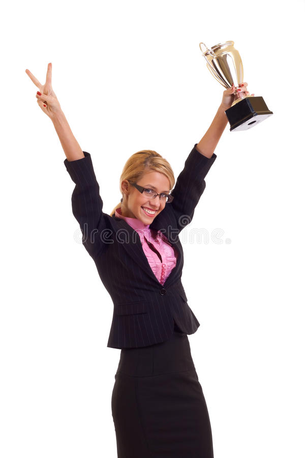 Happy business woman with trophy stock image