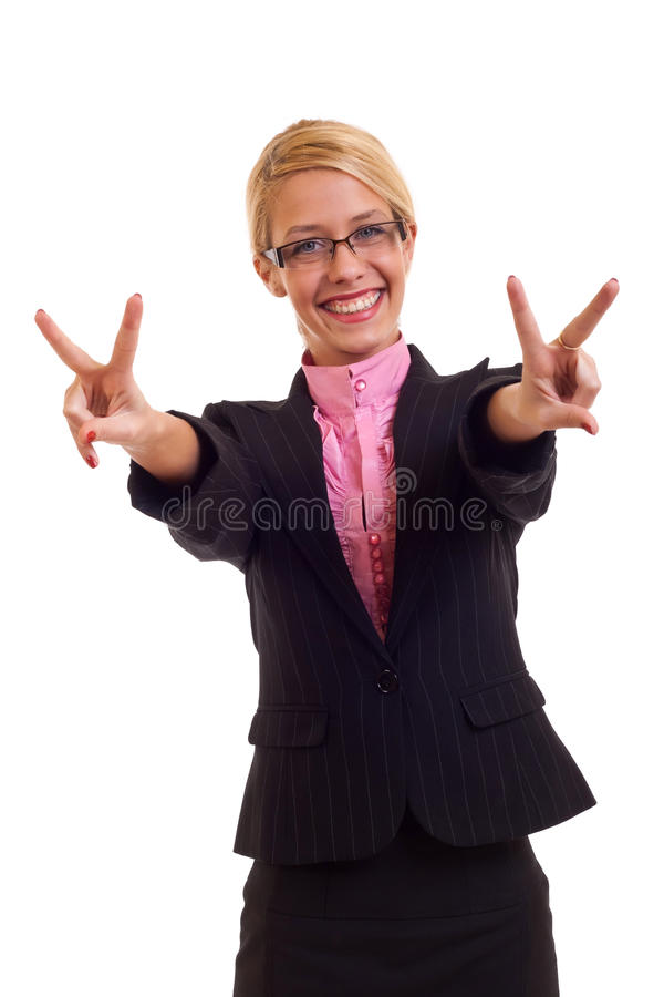 Happy business woman victory gesture. Happy business woman smiling and victory gesture, isolated royalty free stock images