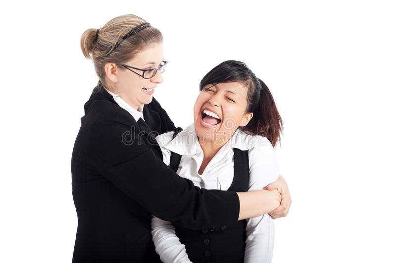 Happy business women funny moment stock photo