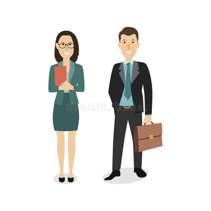 Happy businessman and business woman stock image