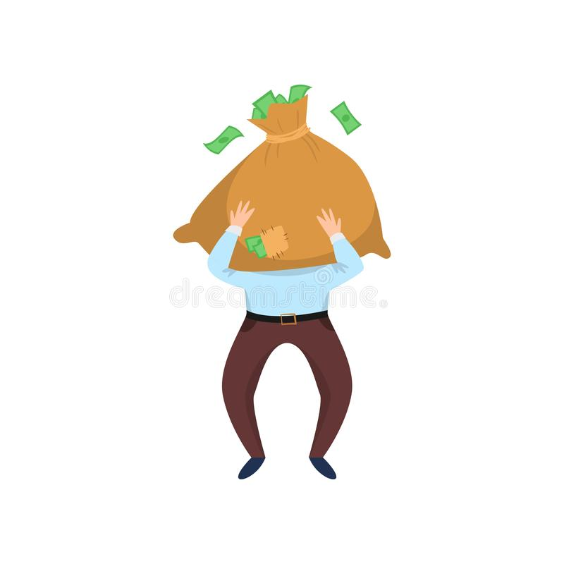 Happy businessman carrying bag of money in front of face isolated on white background stock illustration