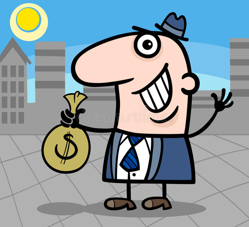 Happy businessman cartoon illustration stock illustration
