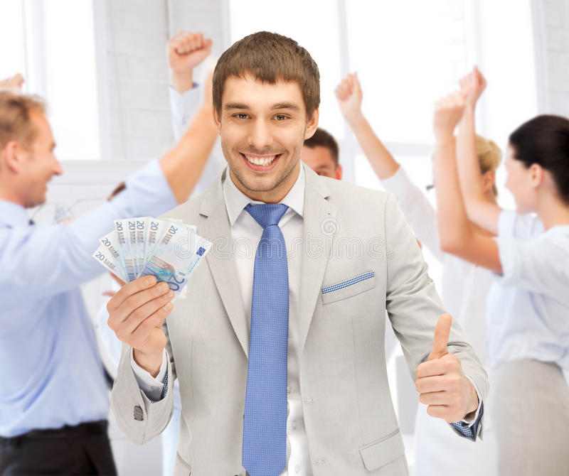 Download Happy Businessman With Cash Money In Office Stock Image - Image: 37972041
