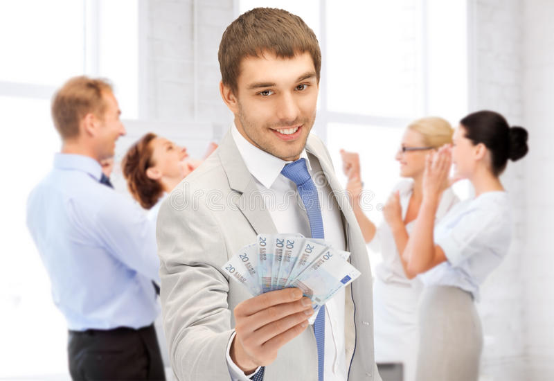 Download Happy Businessman With Cash Money In Office Stock Image - Image: 37972051