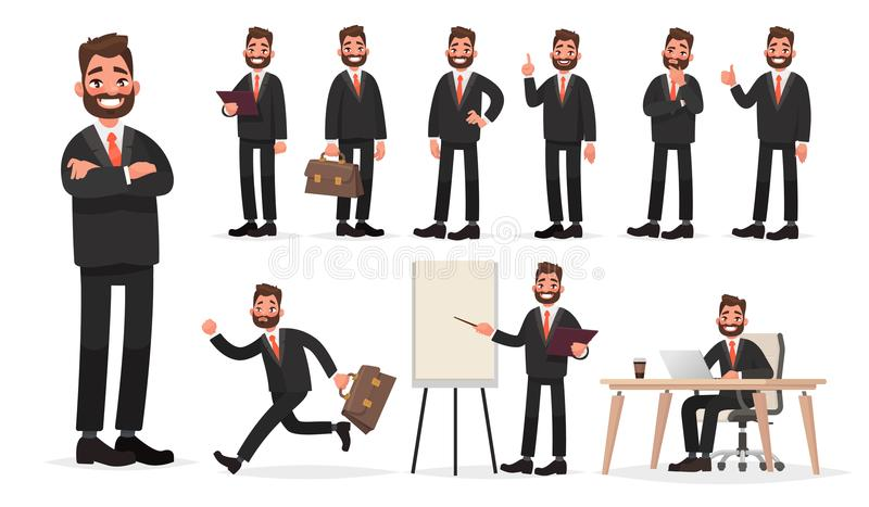 Happy businessman. A character set of an office worker man in various poses and situations stock illustration