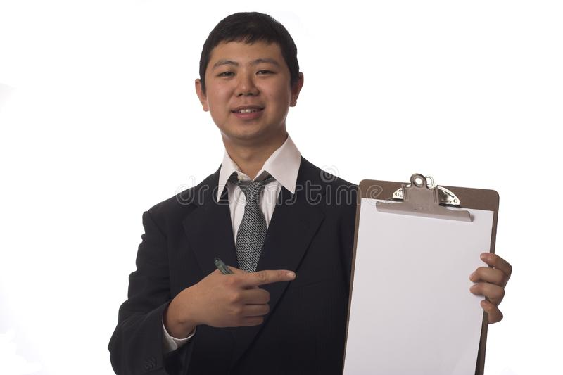 Happy businessman with clipboard stock images