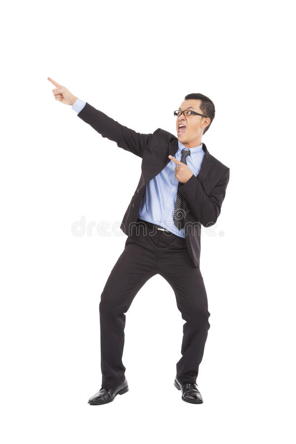 Happy businessman dancing a funny gesture royalty free stock photo