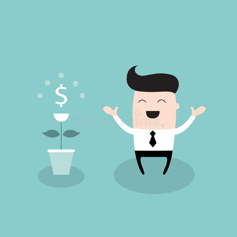 Happy businessman with dollar plant growing money tree successful business concept stock - Successful flower growing business ...