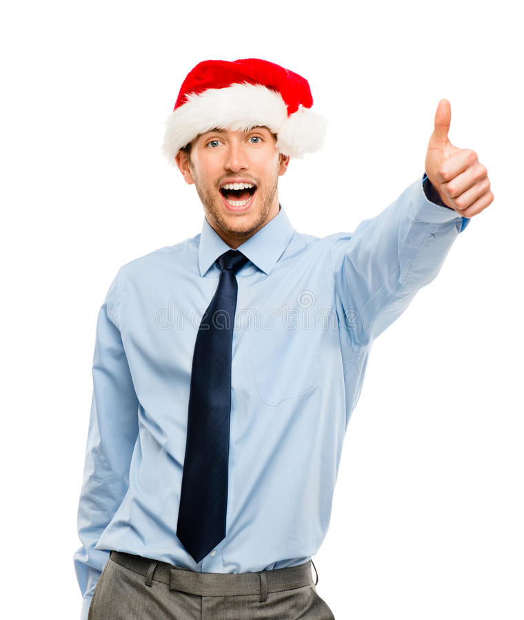 Happy Businessman Excited About Christmas Bonus Portrait Isolate Stock Photography