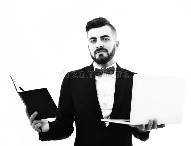 Happy businessman or executive director with beard and organizer. Happy businessman or executive director with beard and smile holds leather organizer and white royalty free stock photo