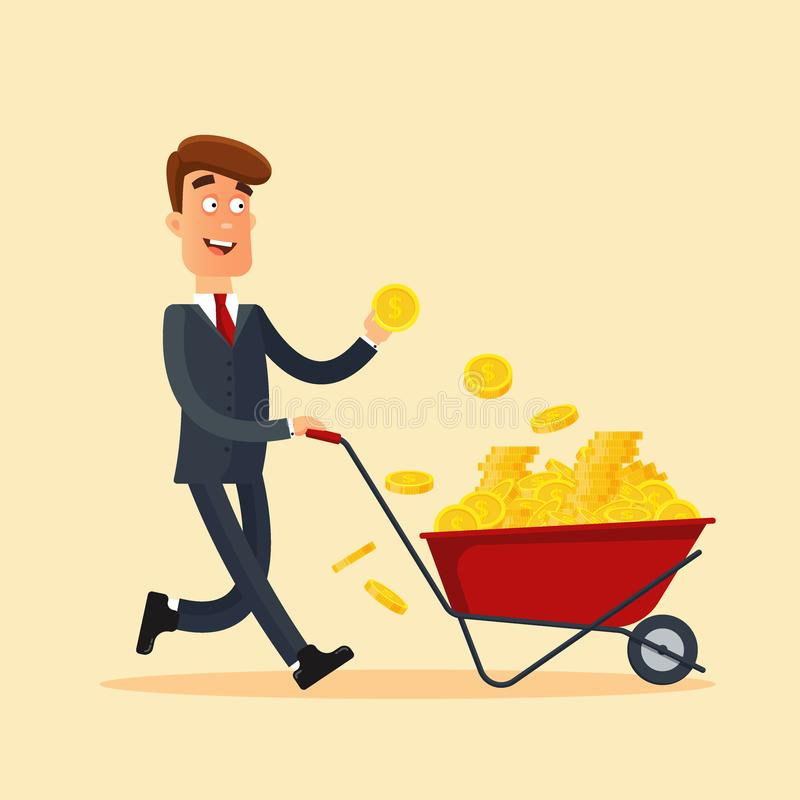 Happy businessman in grey suit pushing red cart full of money and holding gold coin in hand. Wheelbarrow with money stock illustration