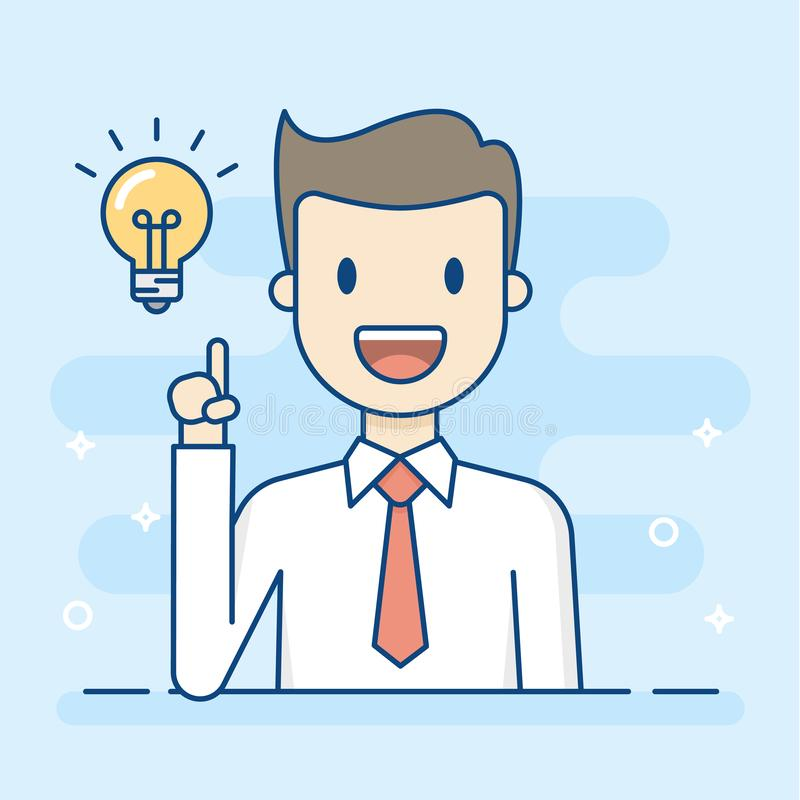 Happy Businessman Having A Good Idea stock illustration