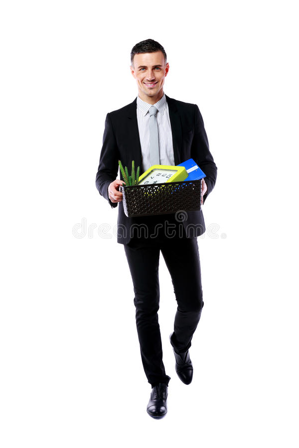 Happy businessman hold box with personal belongings. You are fired! Happy businessman hold box with personal belongings isolated on white background stock photos