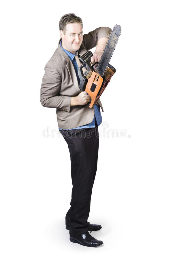 Download Happy Businessman Holding Chainsaw Stock Photo - Image: 33760706