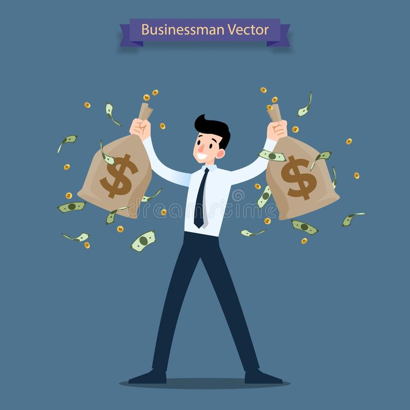 Happy businessman holding a money and gold coin bag, sack. Rich people who can make a lot of income, profit financial. vector illustration