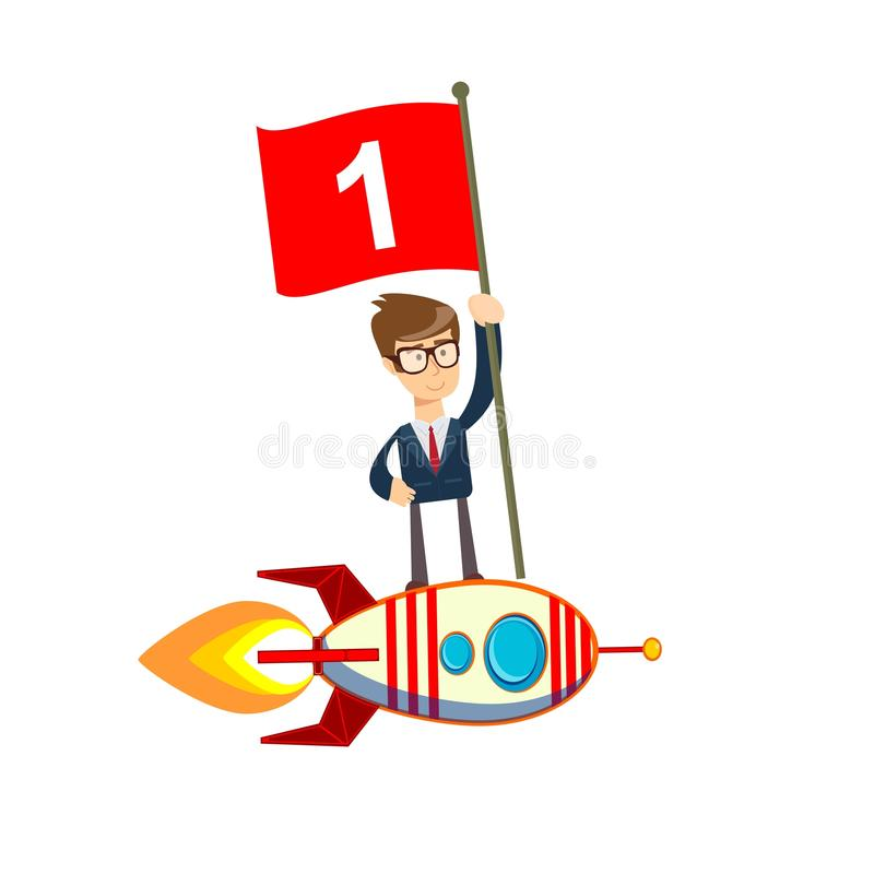 Happy businessman holding number one flag standing on rocket ship flying through sky. royalty free illustration