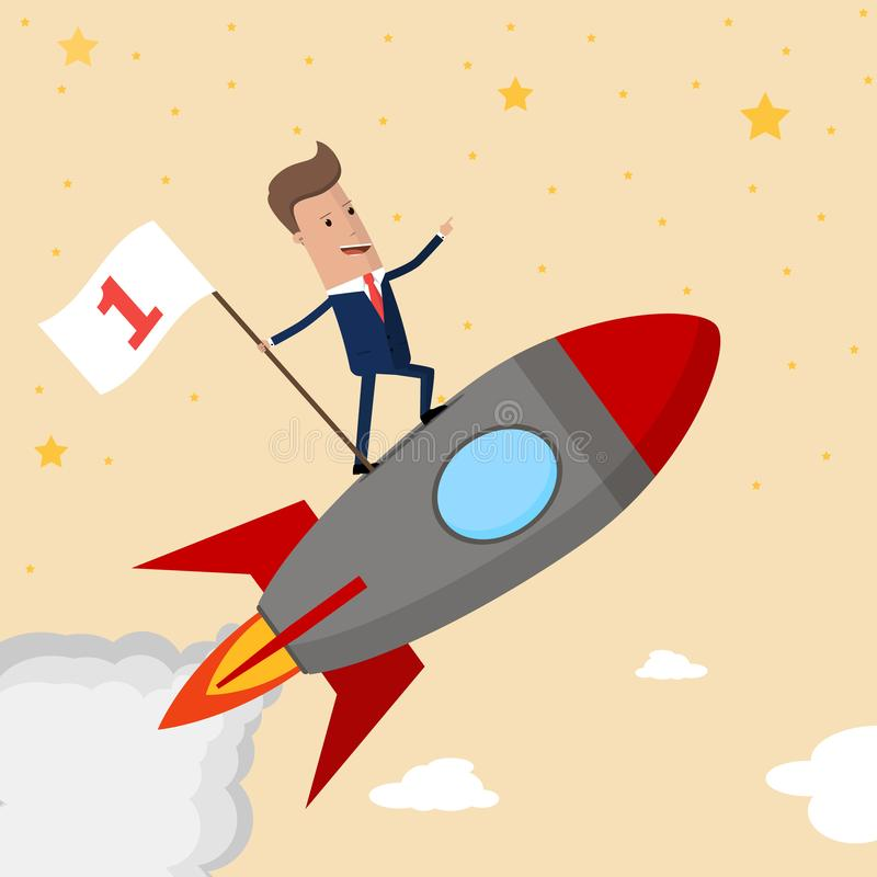 Happy businessman holding number one flag standing on rocket ship flying through starry sky. Successful Start up business concept. stock illustration
