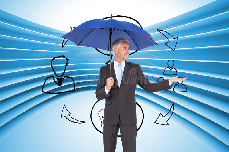 Happy businessman holding umbrella. Composite image of happy mature businessman holding umbrella royalty free stock images