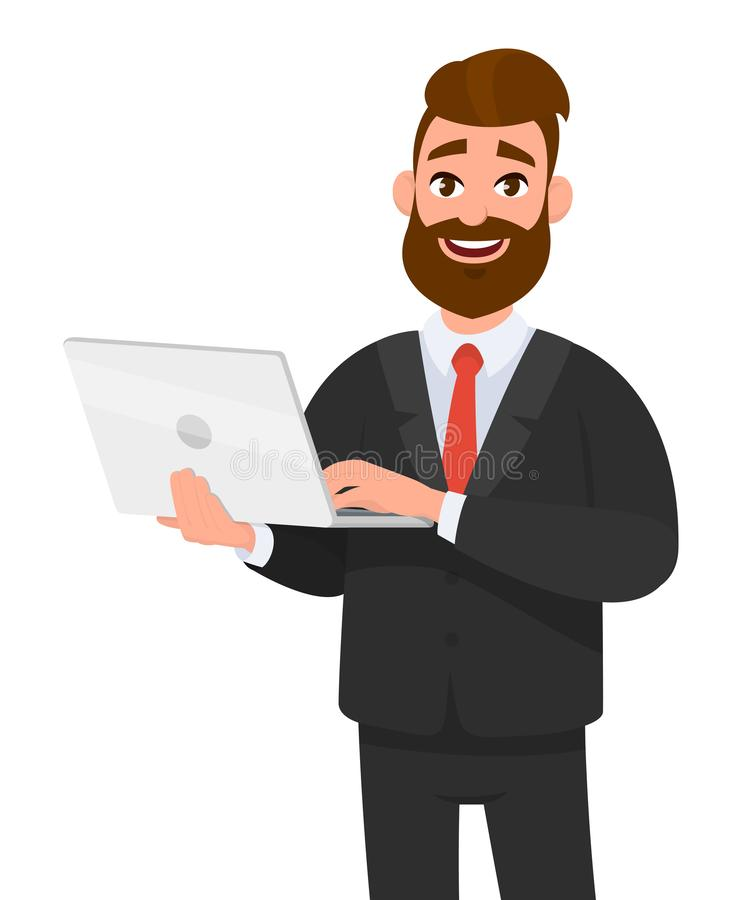 Happy businessman holding and using laptop computer standing against isolated white background. vector illustration