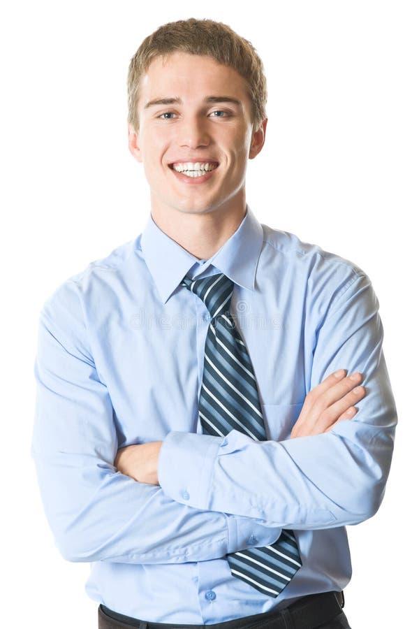 Happy businessman, isolated stock image
