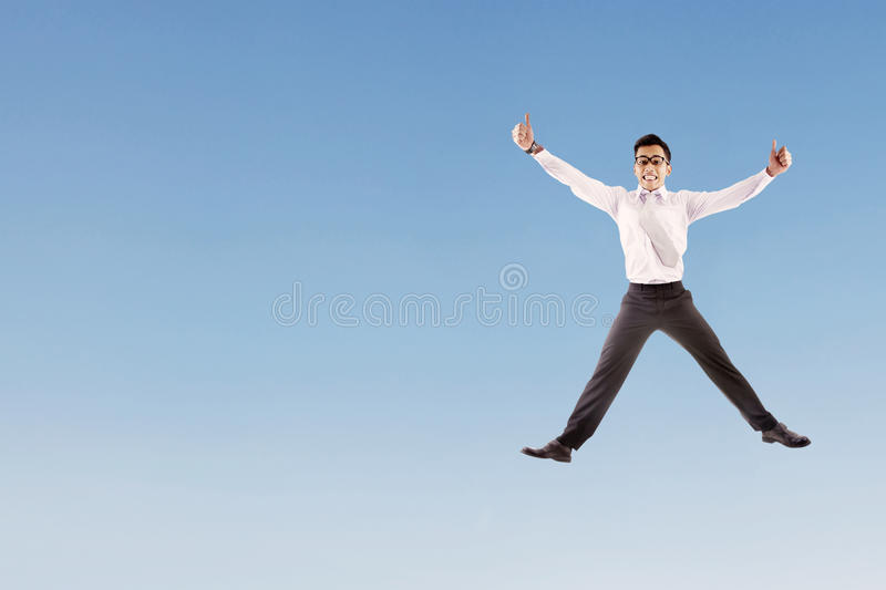 Happy Businessman Jumping Royalty Free Stock Images