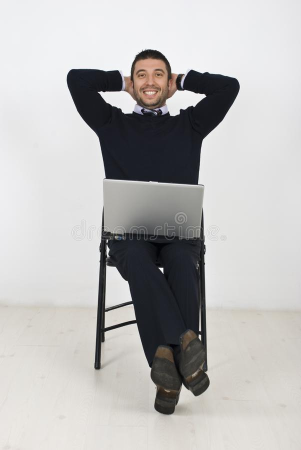 Download Happy Businessman With Laptop On Chair Stock Photo - Image of beautiful, beauty: 14018340