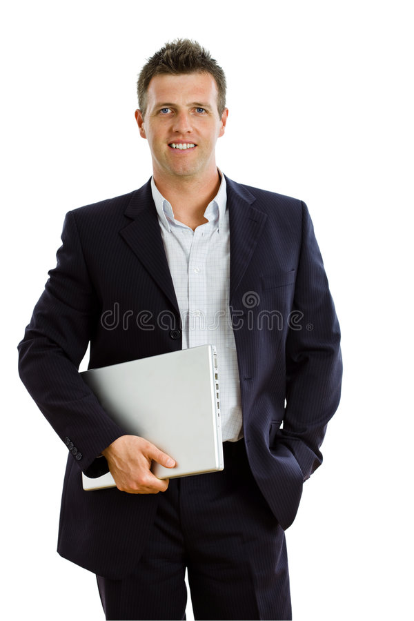 Happy businessman with laptop isolated royalty free stock images
