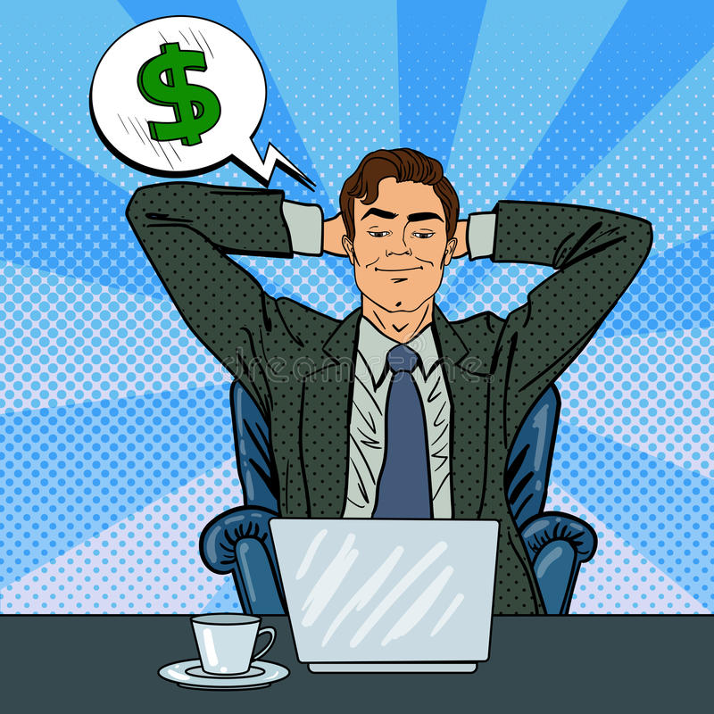 Happy Businessman with Laptop. Office Worker Dreaming About Money vector illustration