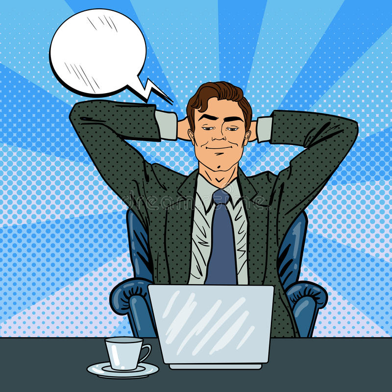 Happy Businessman with Laptop. Office Worker Dreaming About Something vector illustration