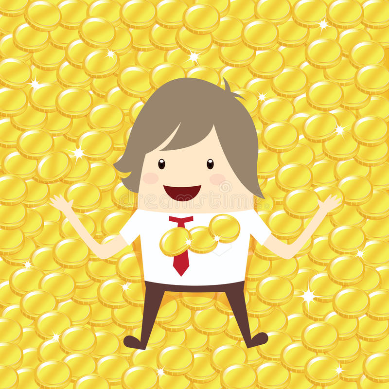 happy businessman is lie down relaxing with gold coin penny stack, business concept stock illustration