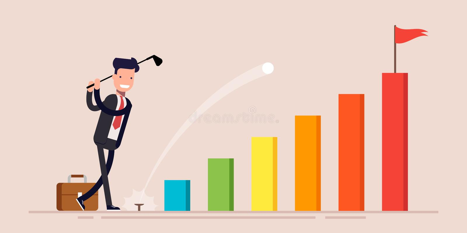 Happy businessman or manager businessman hit golf balls go to goal on business graph. Vector illustration in a flat royalty free illustration