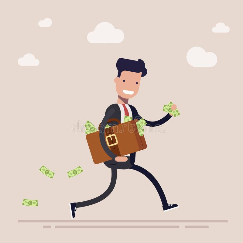 Happy businessman or manager is running with a suitcase full of money. The concept of theft or bribe. Cartoon vector royalty free illustration