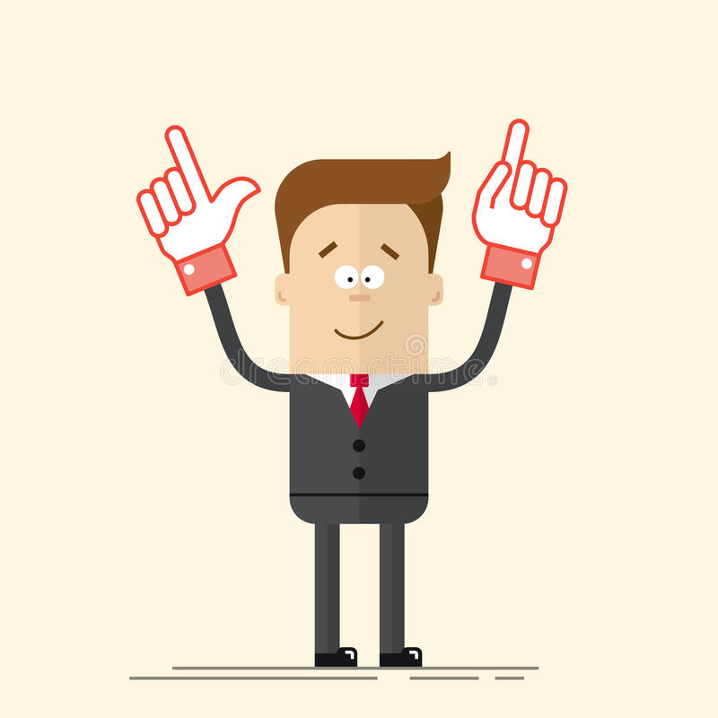 Happy businessman or manager It shows up his hand. Pleased man in a business suit and tie. A man in a cartoon flat style. Vector illustration isolated on beige vector illustration