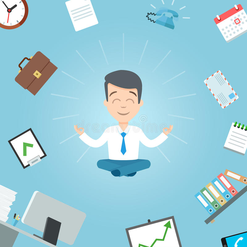 Happy businessman meditating in the office. Business yoga office meditation vector illustration