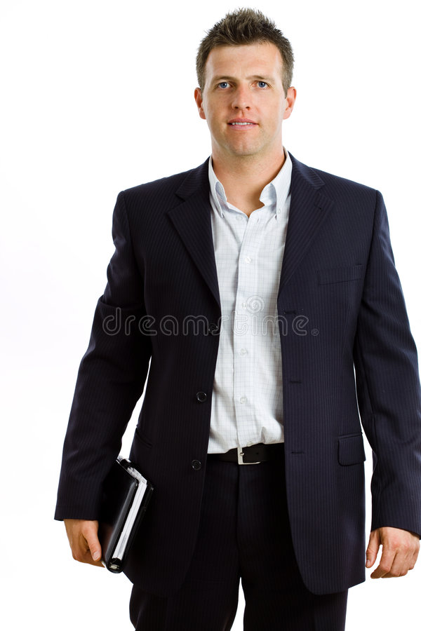Happy businessman with notebook isolated royalty free stock photo