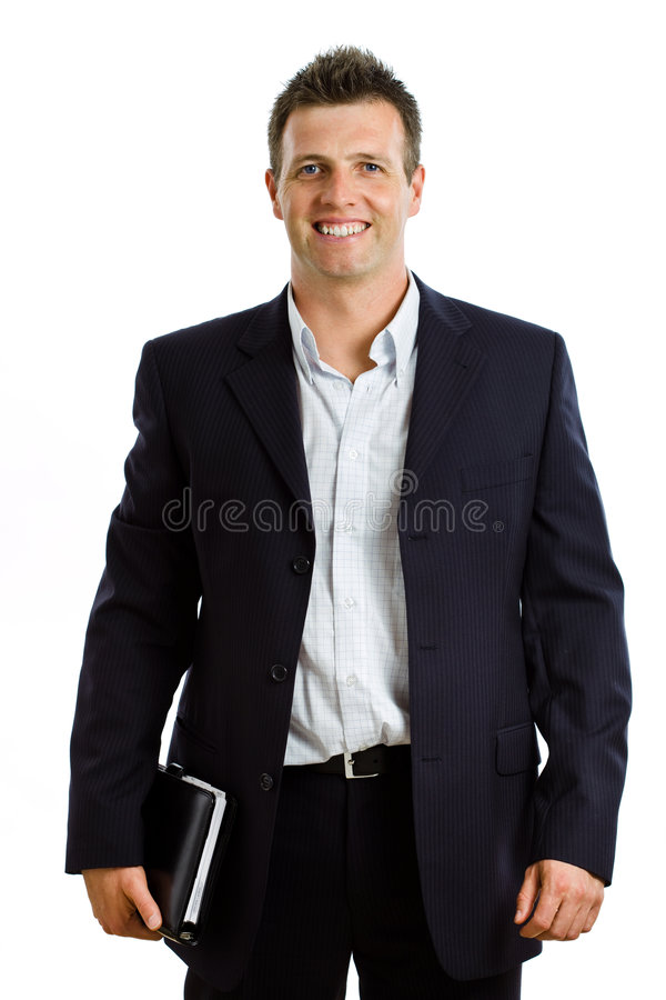 Happy businessman with notebook isolated stock photography