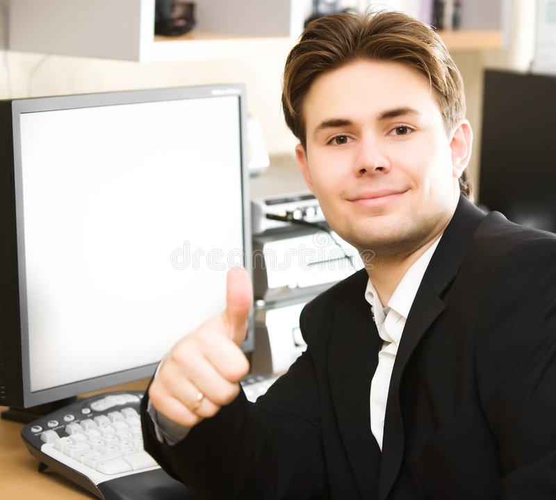 Download Happy Businessman In Office Stock Image - Image: 7331055