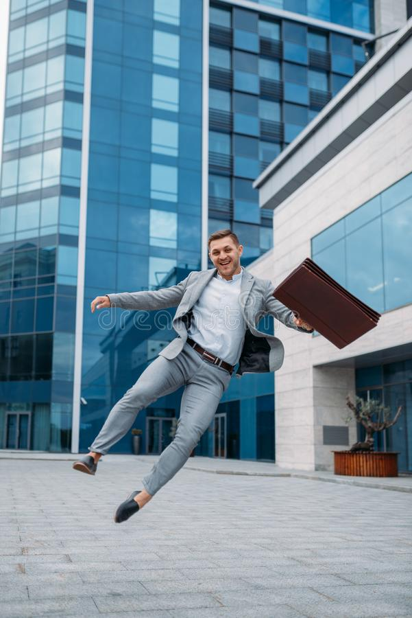 Happy businessman at office building royalty free stock photos