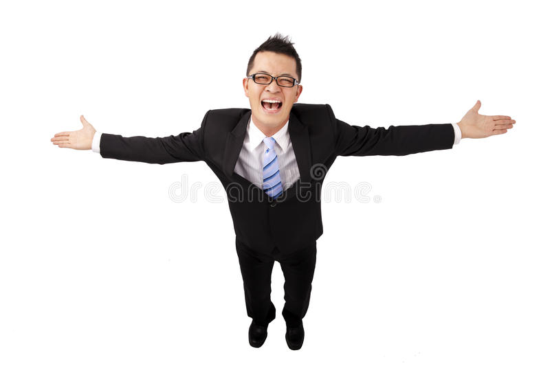Happy businessman and open arms stock photography