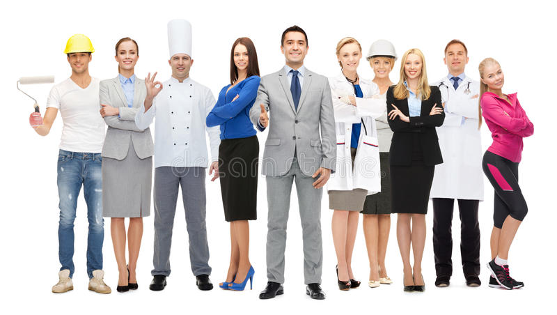 Happy businessman over professional workers royalty free stock photos