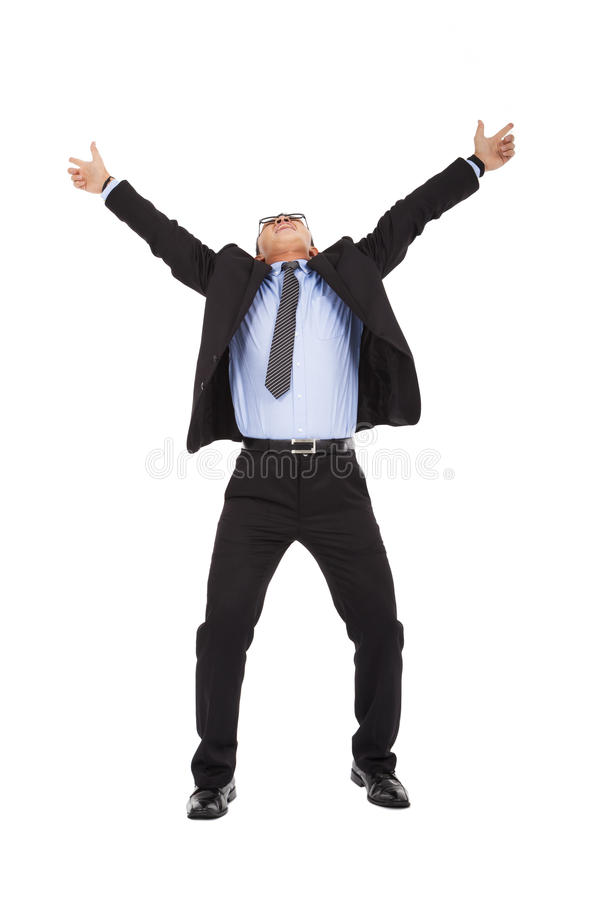 Happy businessman raise arms up to celebrate royalty free stock image