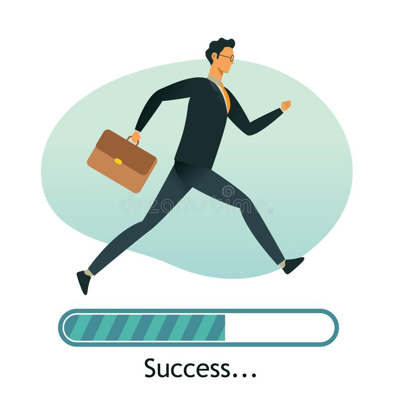Happy businessman run on progress loading bar, Success concept. vector illustration