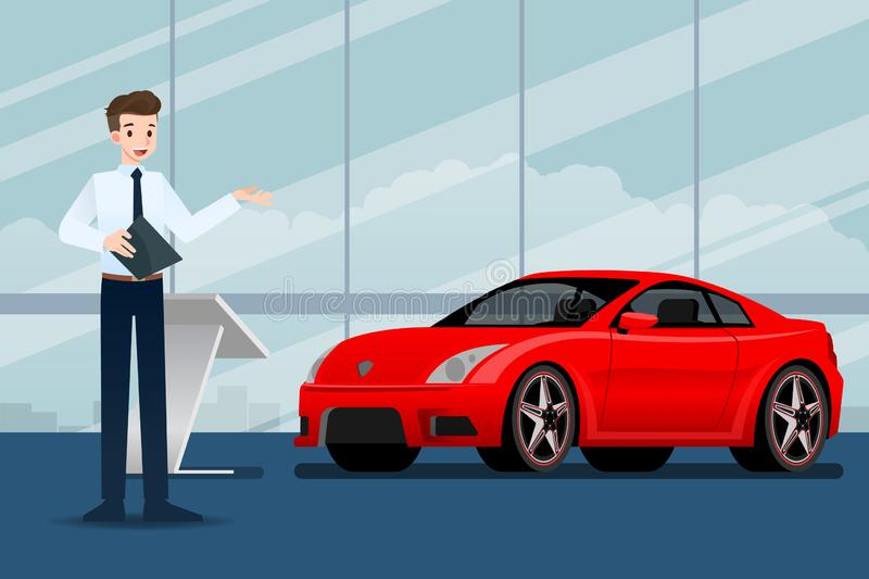 A happy businessman, salesman is standing and present  his luxury car that parked in the show room. stock illustration