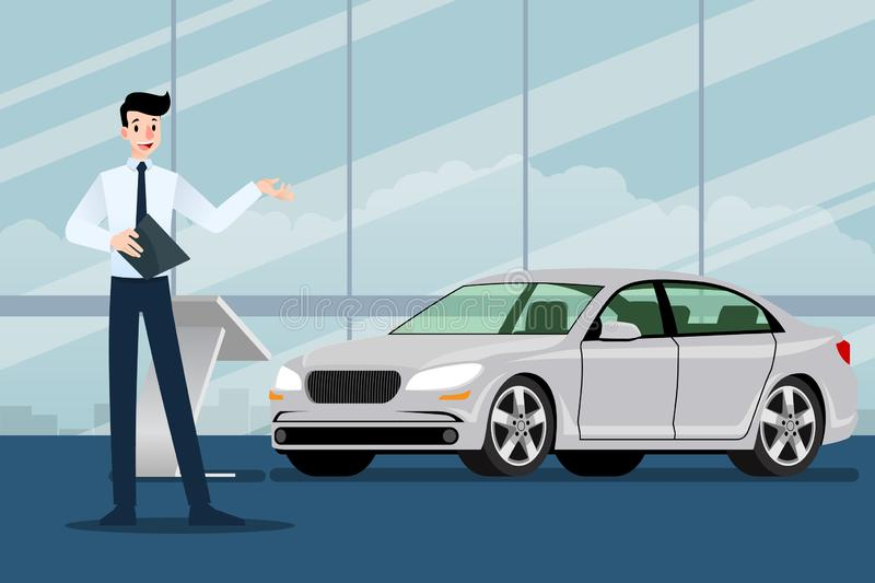 A happy businessman, salesman is standing and present his luxury car that parked in the show room. royalty free illustration