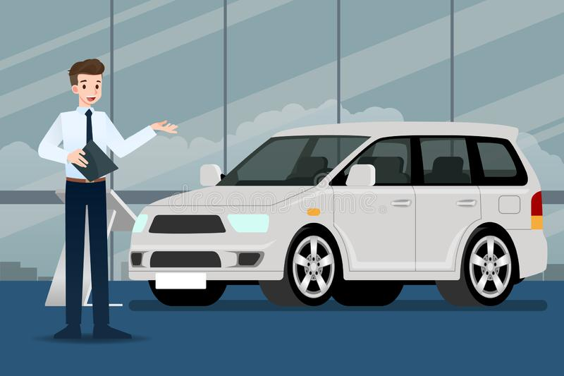 A happy businessman, salesman is standing and present  his luxury car that parked in the show room. vector illustration