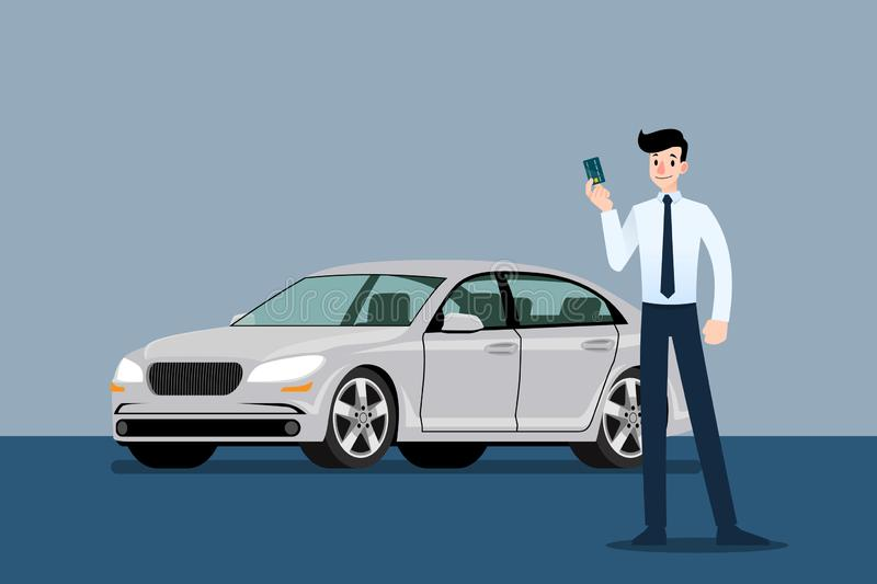 Happy businessman, seller stand and holding credit card in front of luxury car that parking in large showroom in the city. royalty free illustration