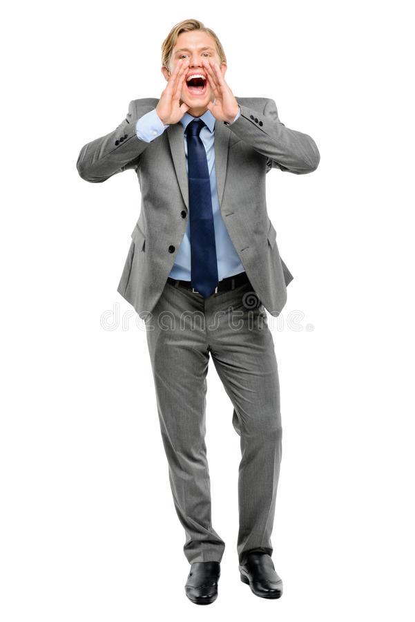 Download Happy Businessman Shouting Isolated On White Background Stock Photo - Image: 31651222