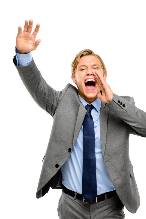 Happy businessman shouting isolated on white background