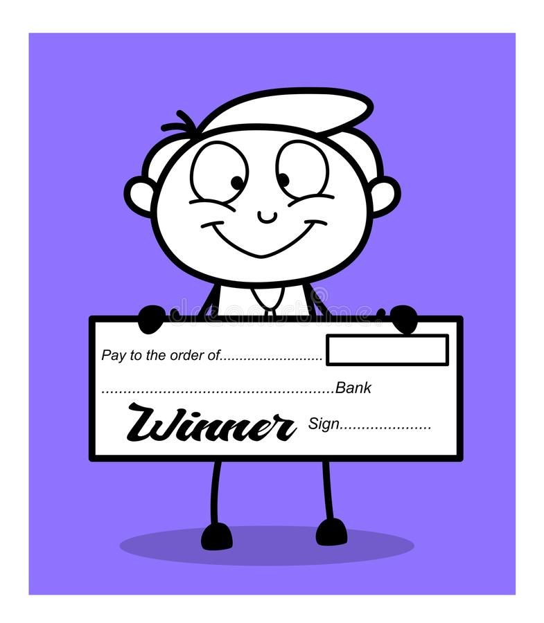 Happy Businessman Showing Winner Cheque royalty free illustration