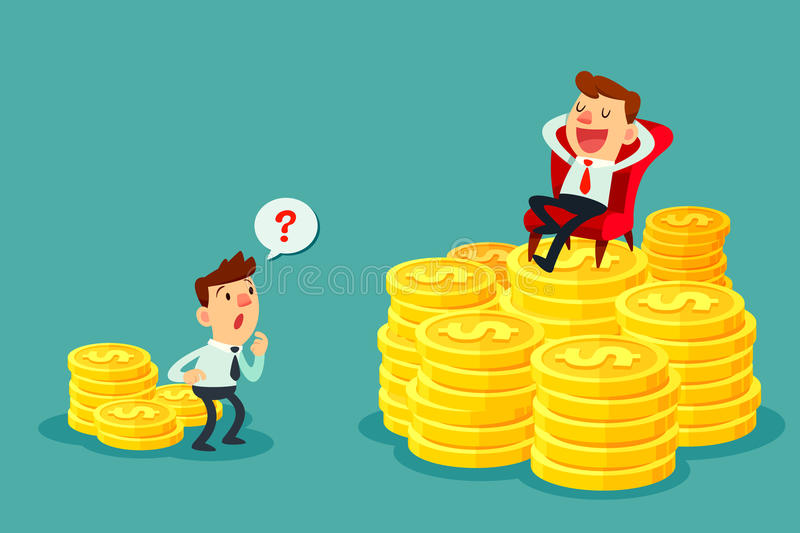 Happy businessman sit on stack of gold coins-investment concept. Happy businessman sit on several stacks of gold coins and another businessman only has a few royalty free illustration